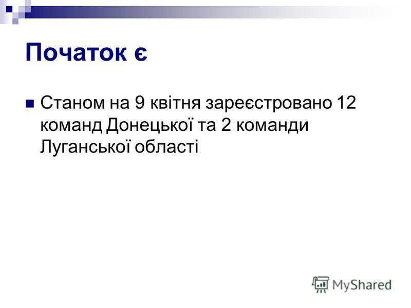 Початок є Станом на 9 квітня зареєстровано 12 команд Донецької та 2 команди Луганської області