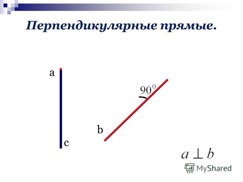 Перпендикулярные прямые. а с b