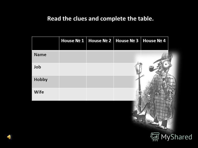 House 1House 2House 3House 4 Name Job Hobby Wife Read the clues and complete the table.