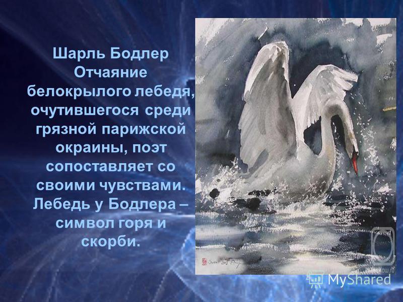 Шарль Бодлер Отчаяние белокрылого лебедя, очутившегося среди грязной парижской окраины, поэт сопоставляет со своими чувствами. Лебедь у Бодлера – символ горя и скорби.