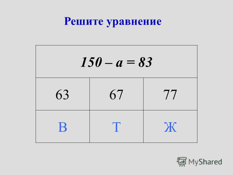 Решите уравнение 150 – а = 83 636777 ВТЖ