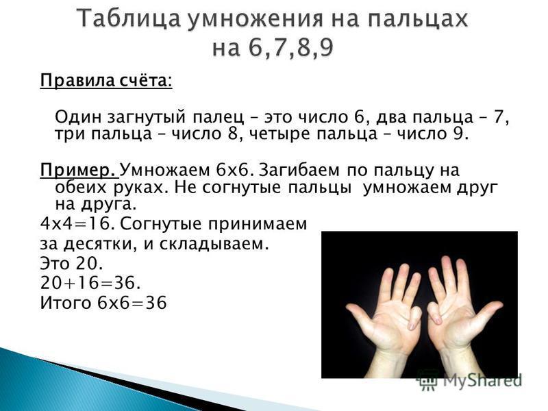 Правила счёта: Один загнутый палец – это число 6, два пальца – 7, три пальца – число 8, четыре пальца – число 9. Пример. Умножаем 6 х 6. Загибаем по пальцу на обеих руках. Не согнутые пальцы умножаем друг на друга. 4 х 4=16. Согнутые принимаем за дес