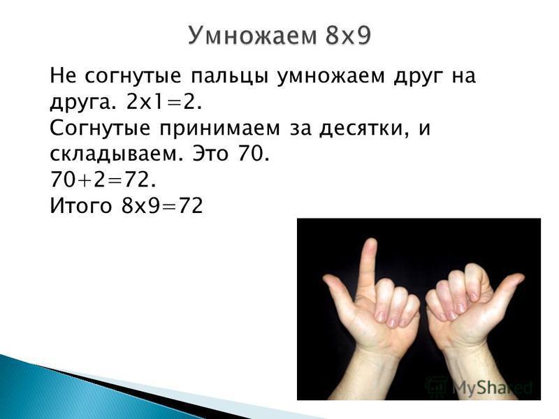Не согнутые пальцы умножаем друг на друга. 2 х 1=2. Согнутые принимаем за десятки, и складываем. Это 70. 70+2=72. Итого 8 х 9=72