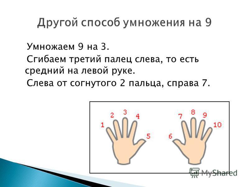 Умножаем 9 на 3. Сгибаем третий палец слева, то есть средний на левой руке. Слева от согнутого 2 пальца, справа 7.