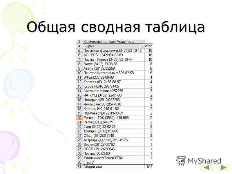 Общая сводная таблица