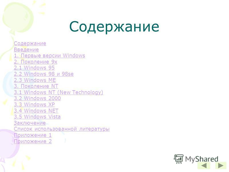Содержание Введение 1. Первые версии Windows 2. Поколение 9 х 2.1 Windows 95 2.2 Windows 98 и 98se 2.3 Windows ME 3. Поколение NT 3.1 Windows NT (New Technology) 3.2 Windows 2000 3.3 Windows XP 3.4 Windows NET 3.5 Windows Vista Заключение Список испо