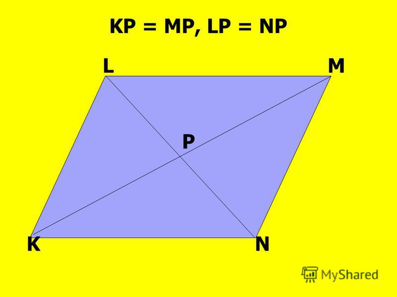 LM KN P KP = MP, LP = NP