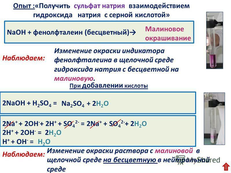 NaOН + фенолфталеин (бесцветный) Изменение окраски индикатора фенолфталеина в щелочной среде гидроксида натрия с бесцветной на малиновую. Опыт :«Получить сульфат натрия взаимодействием гидроксида натрия с серной кислотой» Наблюдаем: 2NaOH + H 2 SO 4