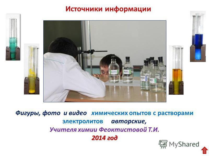 Фигуры, фото и видео химических опытов с растворами электролитов авторские, Учителя химии Феоктистовой Т.И. 2014 год Источники информации