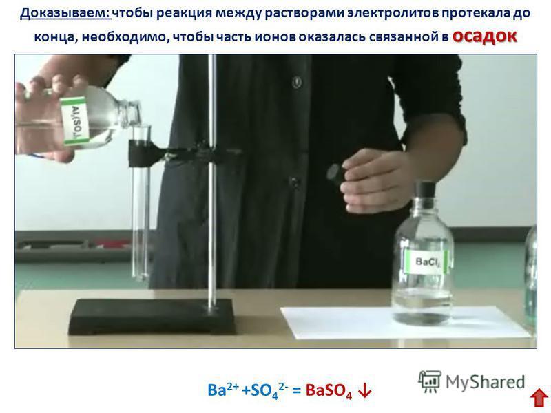 осадок Доказываем: чтобы реакция между растворами электролитов протекала до конца, необходимо, чтобы часть ионов оказалась связанной в осадок Ba 2+ +SO 4 2- = BaSO 4