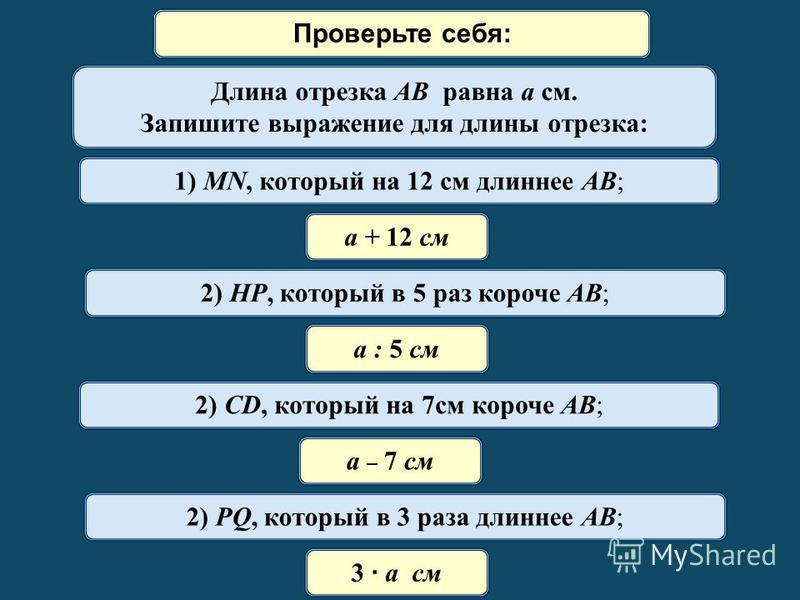 Математический диктант Длина отрезка AB равна a см. Запишите выражение для длины отрезка: 1) MN, который на 12 см длиннее AB; а + 12 см 2) HP, который в 5 раз короче AB; а : 5 см 2) СD, который на 7 см короче AB; а – 7 см 2) PQ, который в 3 раза длин