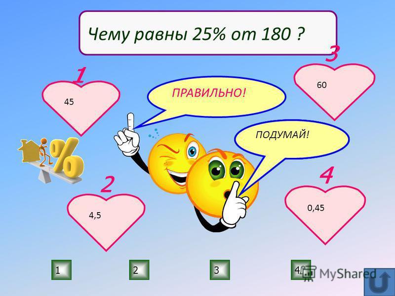 ПРАВИЛЬНО! ПОДУМАЙ! 1234 Чему равны 25% от 180 ? 45 4,5 60 0,45