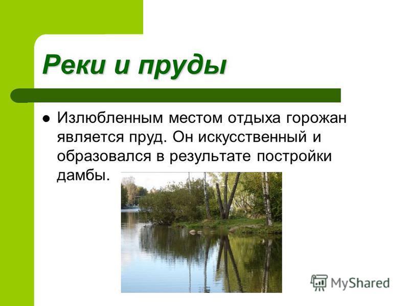 Реки и пруды Излюбленным местом отдыха горожан является пруд. Он искусственный и образовался в результате постройки дамбы.