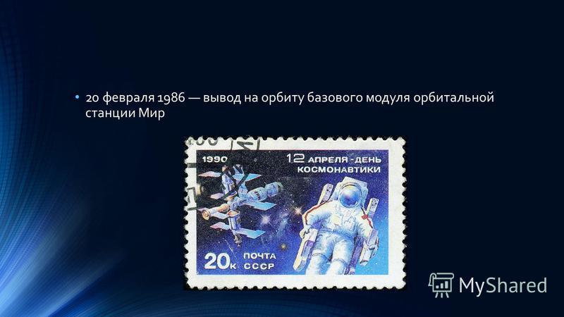 20 февраля 1986 вывод на орбиту базового модуля орбитальной станции Мир