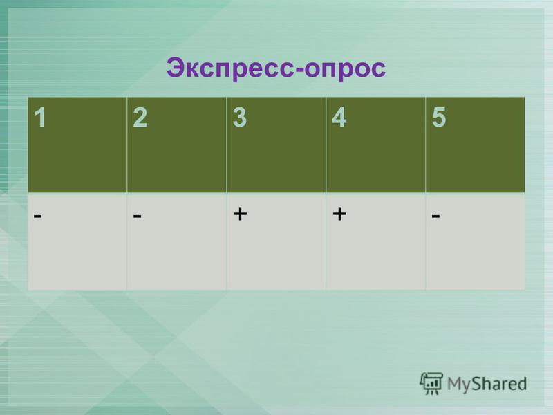 Экспресс-опрос 12345 --++-