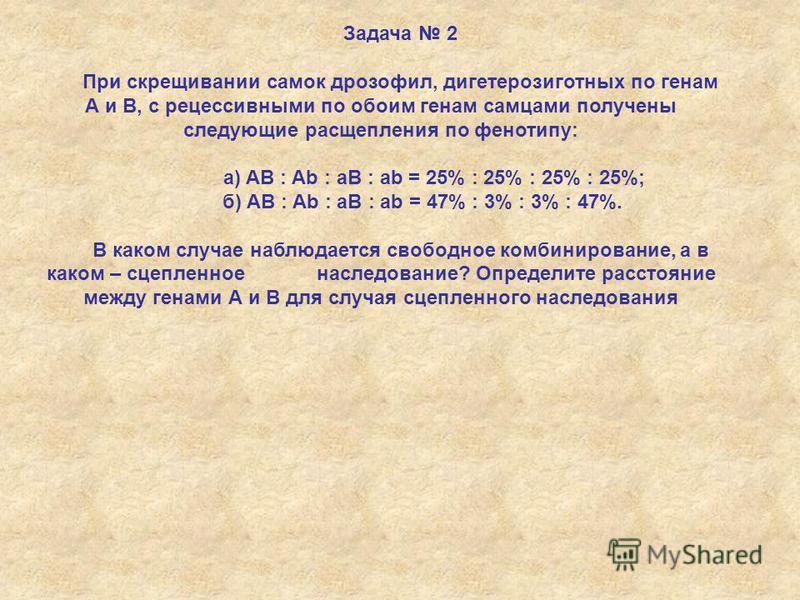 Задача 2 При скрещивании самок дрозофил, дигетерозиготных по генам А и В, с рецессивными по обоим генам самцами получены следующие расщепления по фенотипу: а) AB : Ab : aB : ab = 25% : 25% : 25% : 25%; б) AB : Ab : aB : ab = 47% : 3% : 3% : 47%. В ка