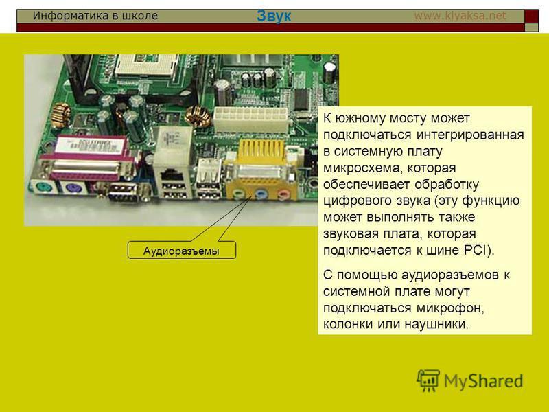 Информатика в школе www.klyaksa.netwww.klyaksa.net Звук К южному мосту может подключаться интегрированная в системную плату микросхема, которая обеспечивает обработку цифрового звука (эту функцию может выполнять также звуковая плата, которая подключа