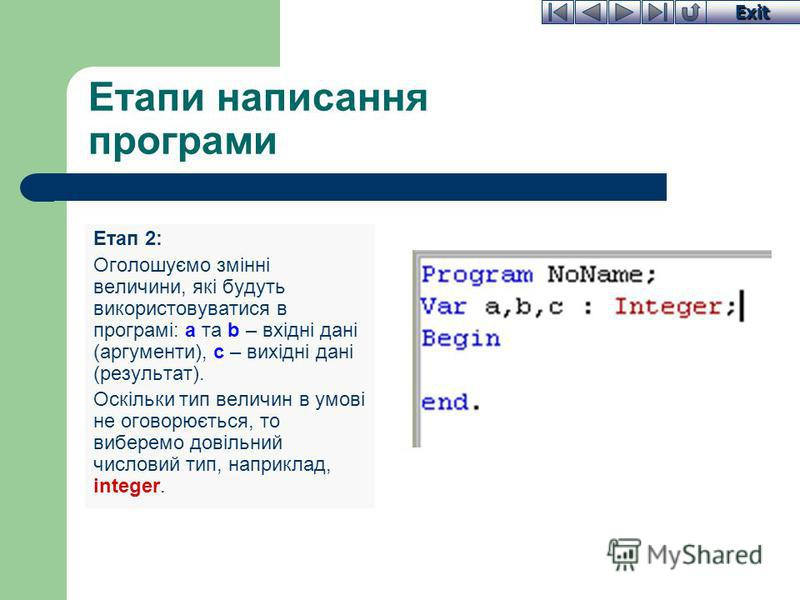 Exit Етапи написання програми Етап 2: Оголошуємо змінні величини, які будуть використовуватися в програмі: a та b – вхідні дані (аргументи), c – вихідні дані (результат). Оскільки тип величин в умові не оговорюється, то виберемо довільний числовий ти