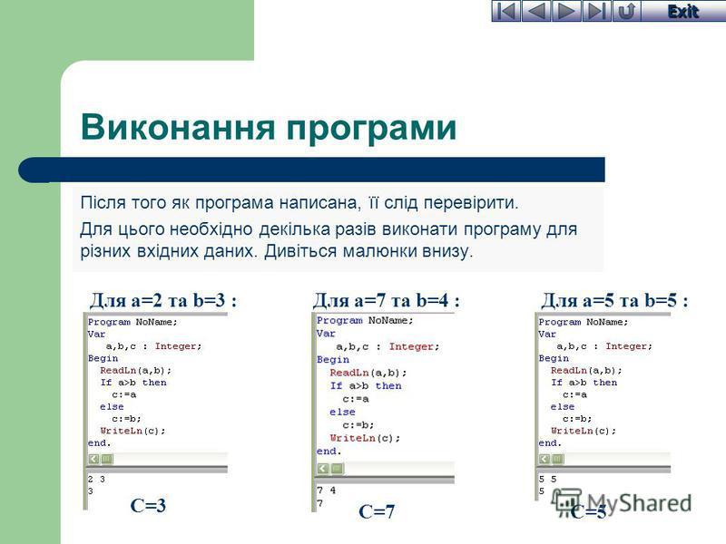 Exit Виконання програми Після того як програма написана, її слід перевірити. Для цього необхідно декілька разів виконати програму для різних вхідних даних. Дивіться малюнки внизу. Для a=2 та b=3 :Для a=7 та b=4 :Для a=5 та b=5 : C=3 C=7C=5