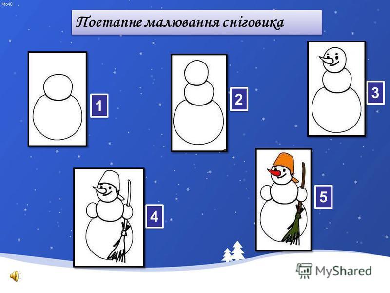 Поетапне малювання сніговика 1 1 2 2 3 3 5 5 4 4
