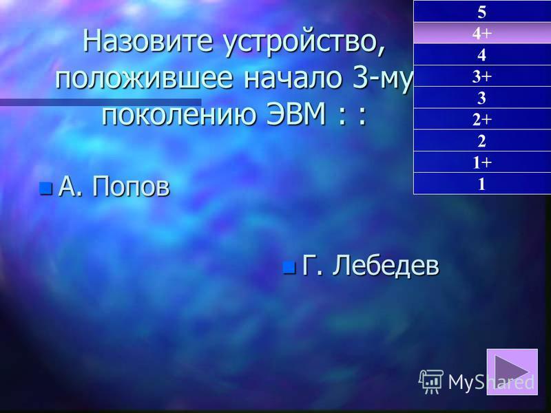 Назовите устройство, положившее начало 3-му поколению ЭВМ: : Назовите устройство, положившее начало 3-му поколению ЭВМ : : n А. Попов n Г. Лебедев 4+ 1 4 3+ 3 2+ 2 1+ 5