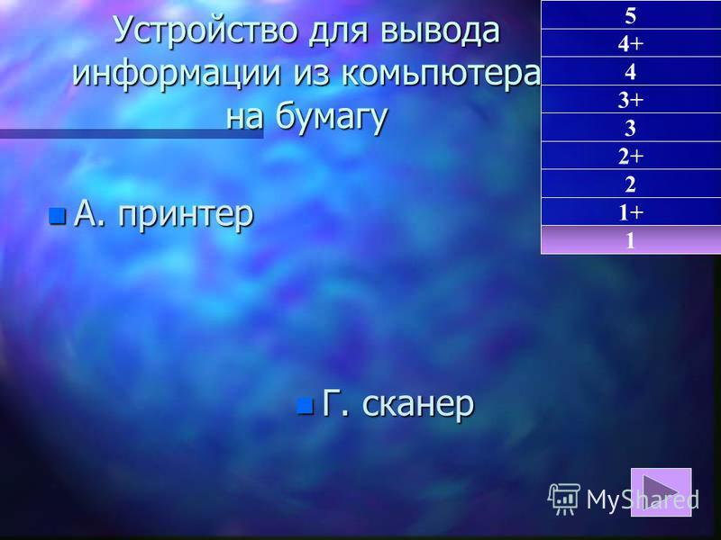 Устройство для вывода информации из компьютера на бумагу n А. принтер n Г. сканер 1 1+ 5 4+ 4 3+ 3 2+ 2