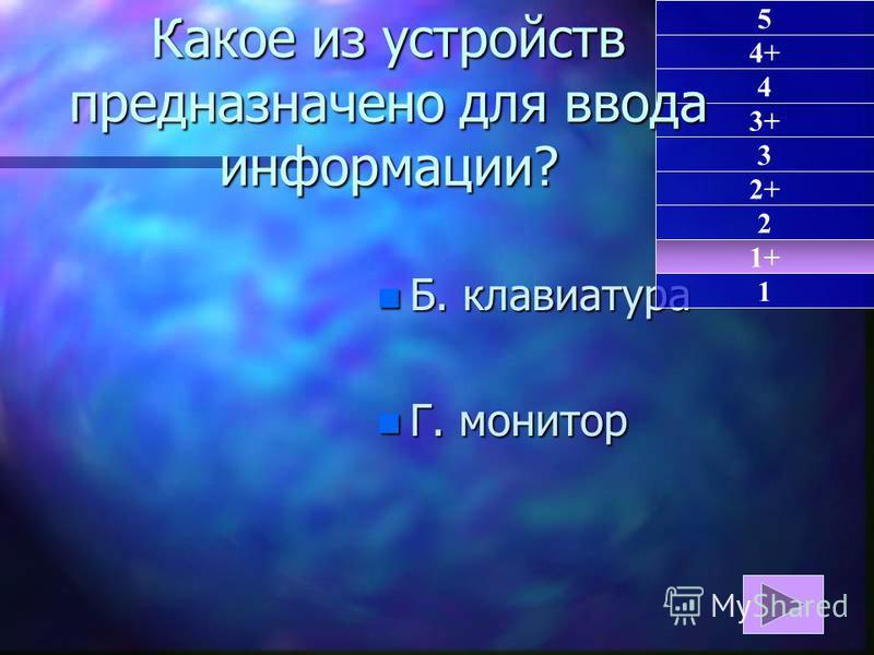 n Б. клавиатура n Г. монитор 1+ 1 5 4+ 4 3+ 3 2+ 2 Какое из устройств предназначено для ввода информации?