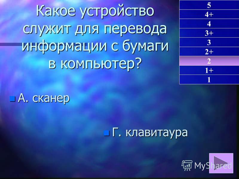 Какое устройство служит для перевода информации с бумаги в компьютер? n А. сканер n Г. клавиатура 2 1 4+ 4 3+ 3 2+ 1+ 5