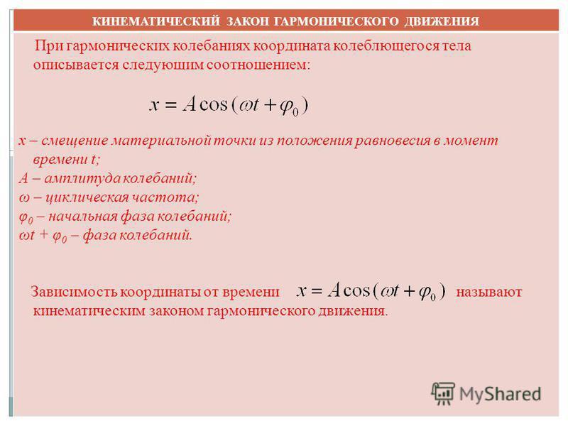 КИНЕМАТИЧЕСКИЙ ЗАКОН ГАРМОНИЧЕСКОГО ДВИЖЕНИЯ При гармонических колебаниях координата колеблющегося тела описывается следующим соотношением: x – смещение материальной точки из положения равновесия в момент времени t; A – амплитуда колебаний; ω – цикли