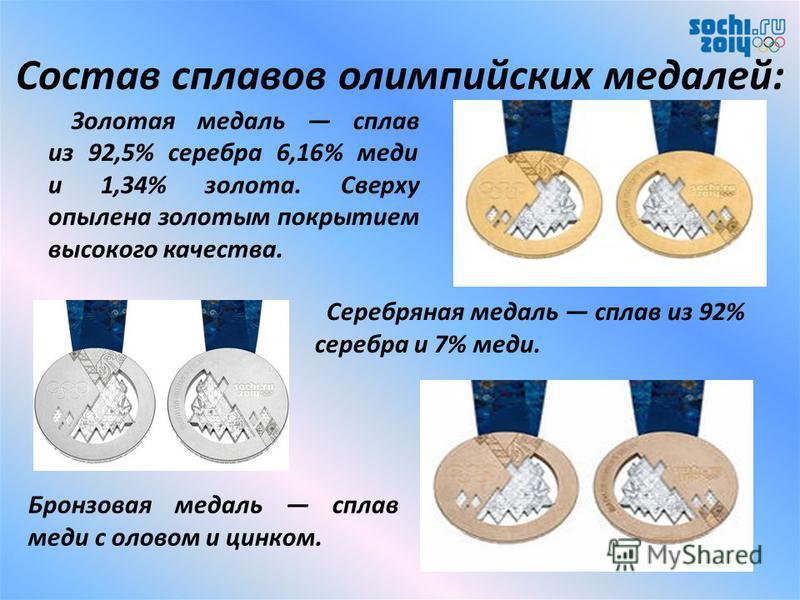 Медали Медали это неотъемлемая символика Олимпиады Сочи 2014. Известно, что оформление олимпийских наград стало не просто оригинальным, но и новаторским. Изготовлено рекордное за всю историю зимних олимпийских игр количество медалей 1300 штук. Каждая