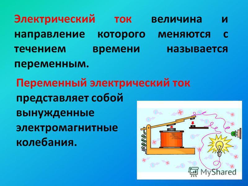 Электрический ток величина и направление которого меняются с течением времени называется переменным. Переменный электрический ток представляет собой вынужденные электромагнитные колебания.