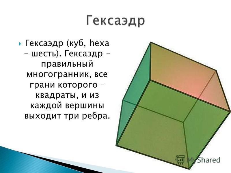 Гексаэдр (куб, hexa – шесть). Гексаэдр – правильный многогранник, все грани которого – квадраты, и из каждой вершины выходит три ребра.