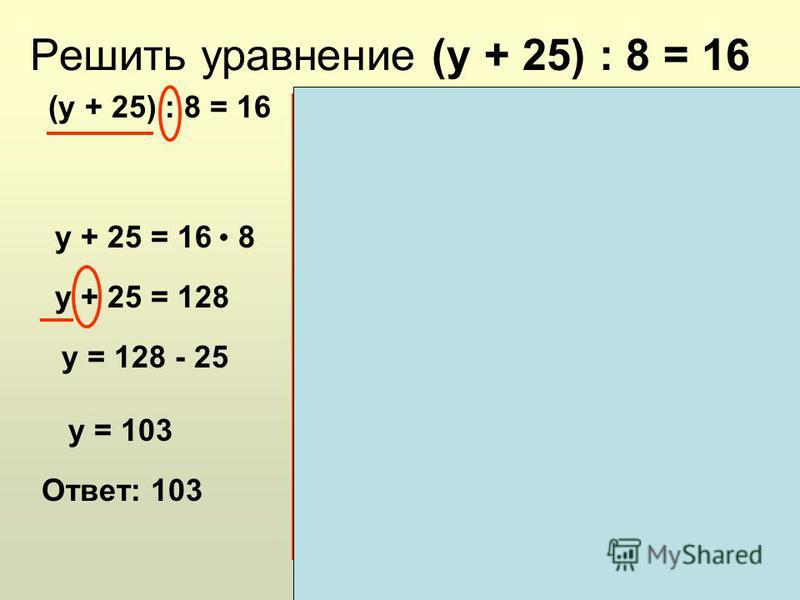 Решить уравнение (у + 25) : 8 = 16 (у + 25) : 8 = 16 Алгоритм решения уравнения: Определяем последнее действие в левой части уравнения. Определяем какой компонент действия неизвестен. Вспоминаем как найти неизвестный компонент. Выполняем действие в п
