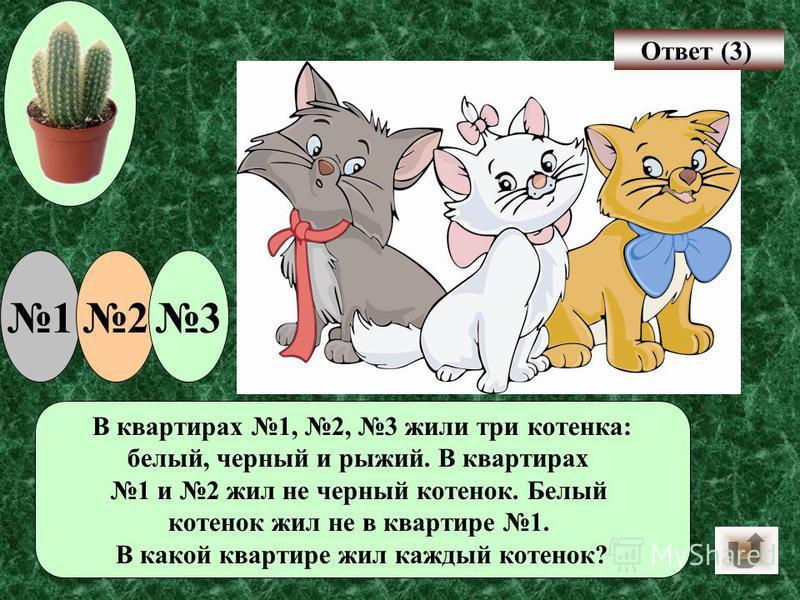 В квартирах 1, 2, 3 жили три котенка: белый, черный и рыжий. В квартирах 1 и 2 жил не черный котенок. Белый котенок жил не в квартире 1. В какой квартире жил каждый котенок? 123 Ответ (3)