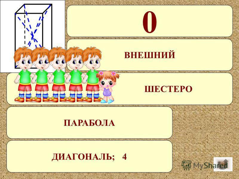 Какое число делится на все числа без остатка? Угол, смежный с углом при данной вершине. B семье 5 сыновей и у каждого есть сестра. Сколько детей в этой семье? Как называется график квадратичной функции? Отрезок, соединяющий противоположные вершины па
