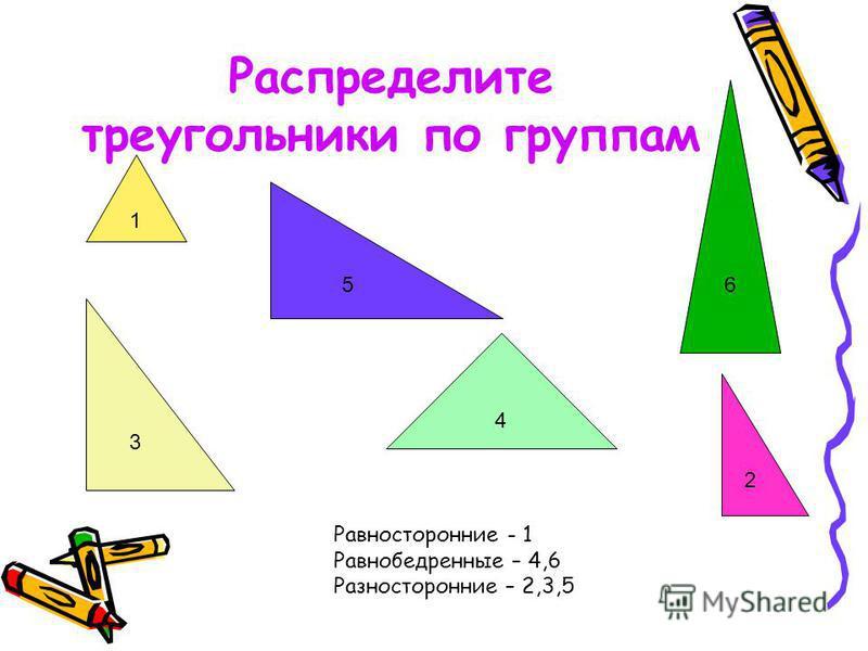 Распределите треугольники по группам 1 5 2 4 3 6 Равносторонние - 1 Равнобедренные – 4,6 Разносторонние – 2,3,5