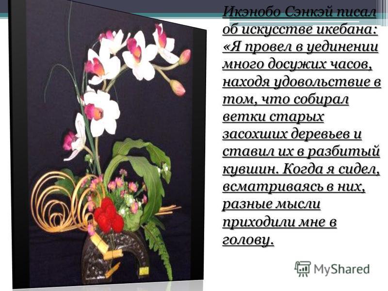 Икэнобо Сэнкэй писал об искусстве икебана: «Я провел в уединении много досужих часов, находя удовольствие в том, что собирал ветки старых засохших деревьев и ставил их в разбитый кувшин. Когда я сидел, всматриваясь в них, разные мысли приходили мн е