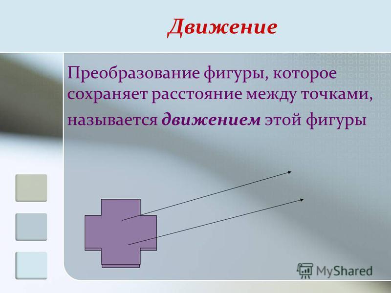Преобразование фигуры, которое сохраняет расстояние между точками, называется движением этой фигуры Движение