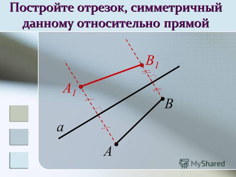 Постройте отрезок, симметричный данному относительно прямой a A A1A1 B B1B1