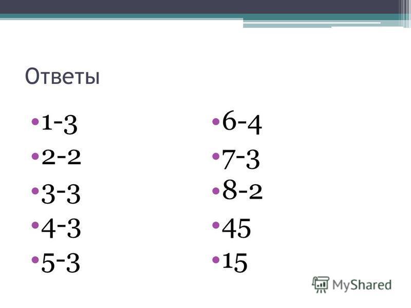 Ответы 1-3 2-2 3-3 4-3 5-3 6-4 7-3 8-2 45 15