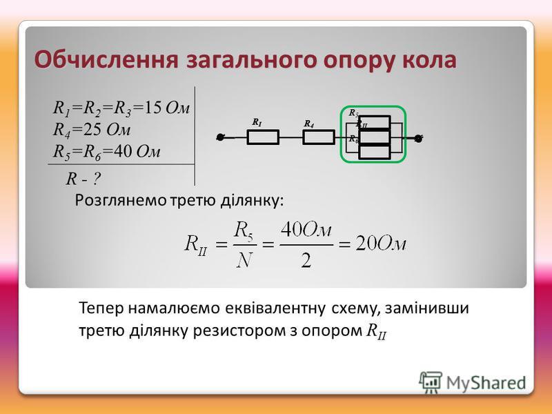 RIRI R4R4 R5R6R5R6 RIRI R4R4 R II Обчислення загального опору кола Розглянемо третю ділянку: Тепер намалюємо еквівалентну схему, замінивши третю ділянку резистором з опором R IІ R 1 =R 2 =R 3 =15 Ом R 4 =25 Ом R 5 =R 6 =40 Ом R - ?