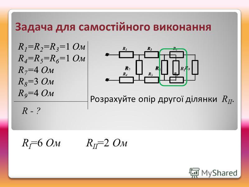 R1R1 R2R2 R3R3 R4R4 R5R5 R6R6 R 7 R 8 R 9 R1R1 R2R2 R4R4 R5R5 R 7 R 8 R I R II =2 Ом Задача для самостійного виконання R 1 =R 2 =R 3 =1 Ом R 4 =R 5 =R 6 =1 Ом R 7 =4 Ом R 8 =3 Ом R 9 =4 Ом R 1 =R 2 =R 3 =1 Ом R 4 =R 5 =R 6 =1 Ом R 7 =4 Ом R 8 =3 Ом R