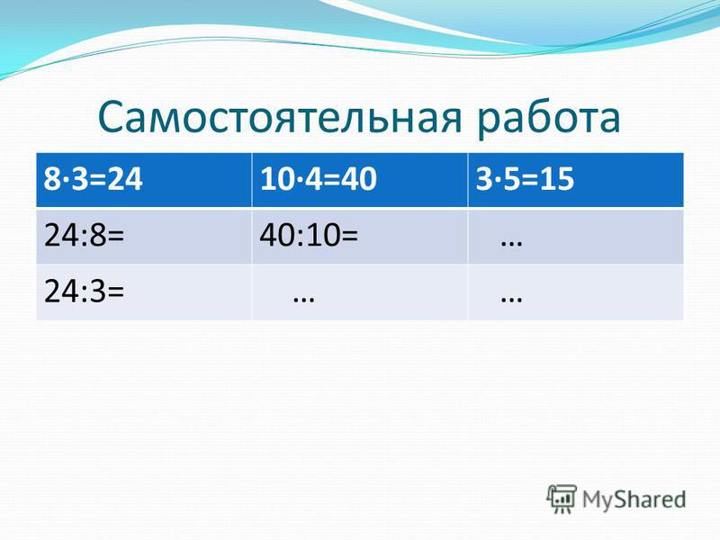 Самостоятельная работа 8·3=2410·4=403·5=15 24:8=40:10= … 24:3= … …