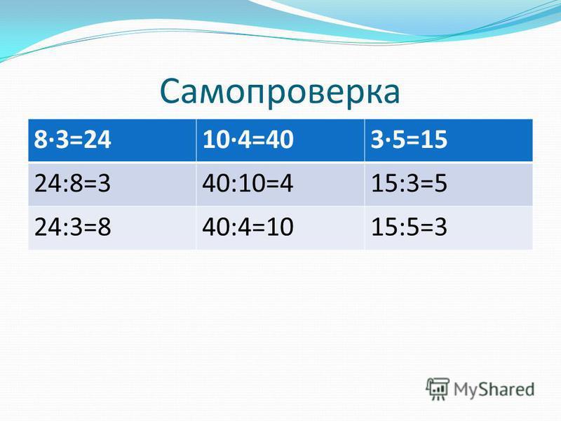 Самопроверка 8·3=2410·4=403·5=15 24:8=340:10=415:3=5 24:3=840:4=1015:5=3