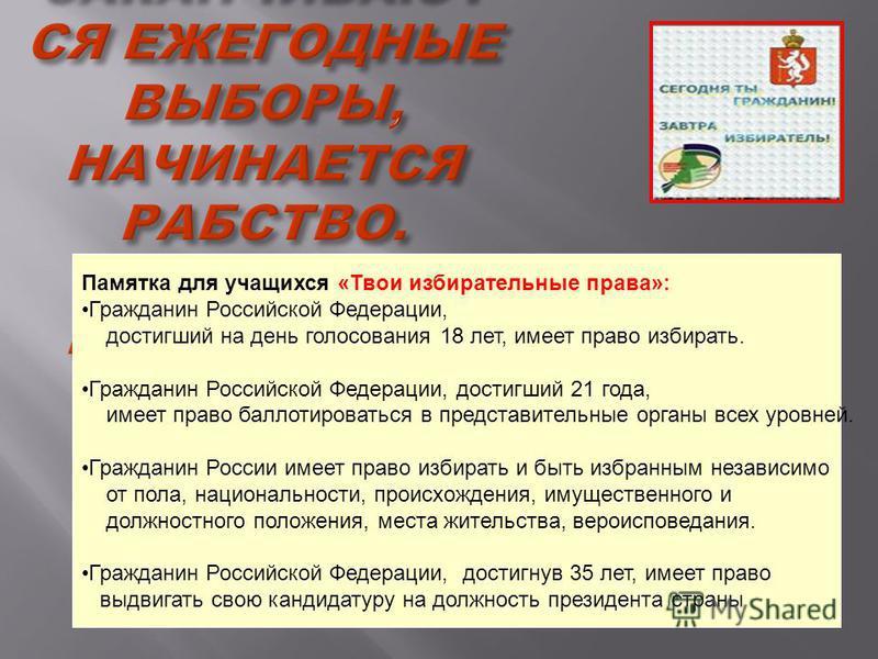 ТАМ, ГДЕ ЗАКАНЧИВАЮТ СЯ ЕЖЕГОДНЫЕ ВЫБОРЫ, НАЧИНАЕТСЯ РАБСТВО. ДЖОН АДАМС Памятка для учащихся «Твои избирательные права»: Гражданин Российской Федерации, достигший на день голосования 18 лет, имеет право избирать. Гражданин Российской Федерации, дост