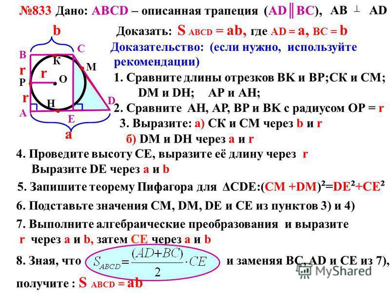 833 Дано : АВСD – описанная трапеция (АDBC), А B C D АВ АD Доказать: S ABCD = ab, где АD = a, BC = bb a Доказательство: (если нужно, используйте рекомендации) 1. Сравните длины отрезков BK и ВР; Н Р К М r СК и СМ; DM и DН;АР и АН; О 2. Сравните АН, А