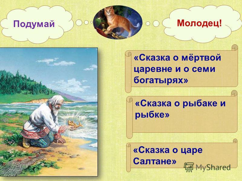 «Сказка о мёртвой царевне и о семи богатырях» «Сказка о рыбаке и рыбке» «Сказка о царе Салтане» Молодец! Подумай