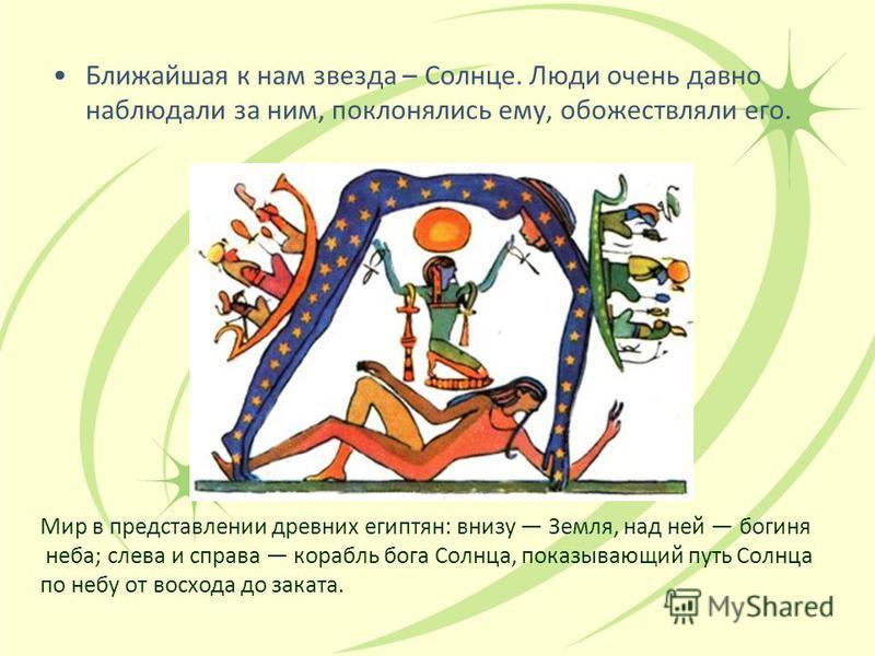 Ближайшая к нам звезда – Солнце. Люди очень давно наблюдали за ним, поклонялись ему, обожествляли его. Мир в представлении древних египтян: внизу Земля, над ней богиня неба; слева и справа корабль бога Солнца, показывающий путь Солнца по небу от восх