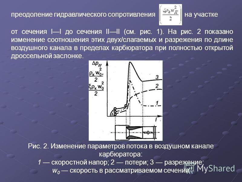 преодоление гидравлического сопротивления на участке от сечения II до сечения IIII (см. рис. 1). На рис. 2 показано изменение соотношения этих двух/слагаемых и разрежения по длине воздушного канала в пределах карбюратора при полностью открытой дроссе