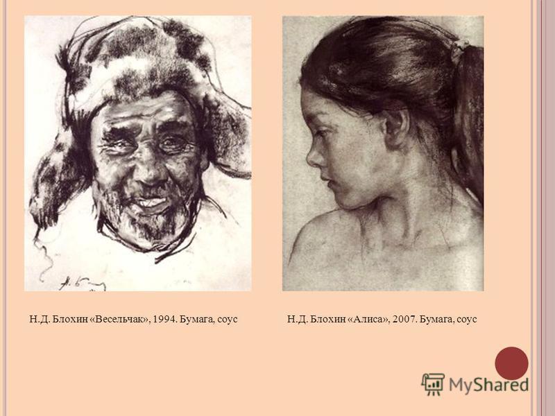 Н.Д. Блохин «Весельчак», 1994. Бумага, соусН.Д. Блохин «Алиса», 2007. Бумага, соус